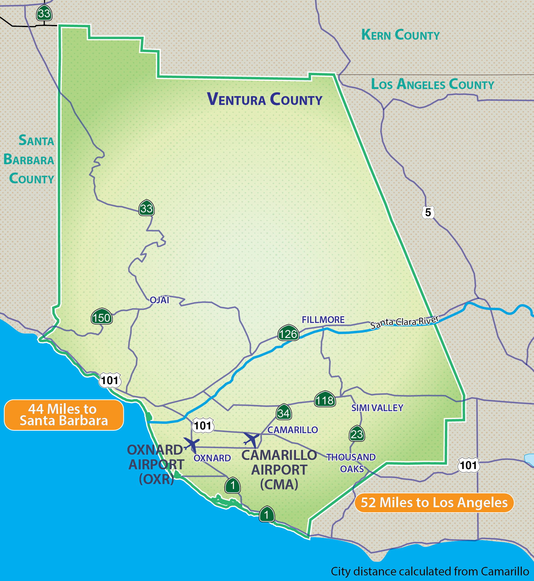 Ventura County owns and operates two public airport facilities: Camarillo Airport (CMA) and Oxnard Airport (OXR). The Camarillo Airport is located approximately three miles west of downtown Camarillo south of U.S. Route 101 and the Oxnard Airport is located one mile west of downtown Oxnard on W. 5th Street.